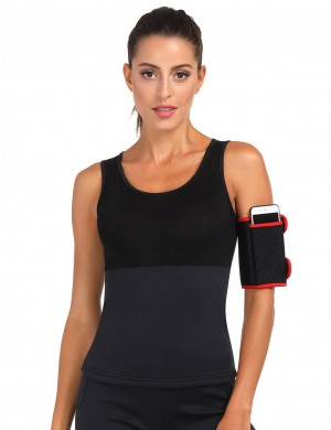 Essential Black Neoprene 2 Pcs Arm Trimmers With Pockets Stretchy