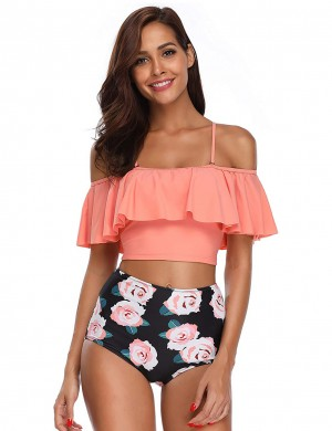 Feisty Ruffles Slender Straps High Waisted Bikini Print Fashion Forward