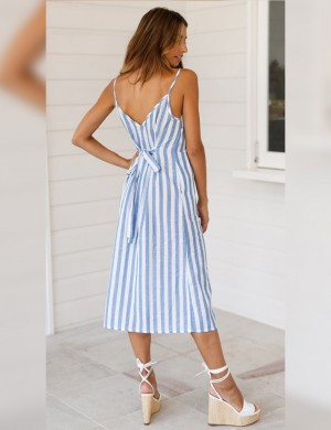 Ultimate Comfort Blue Stripe Print Waist Slim Dress Pockets