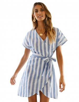 Slim Stripe Wrap Hem Blue V Collar Waist Tie Dress Going Out