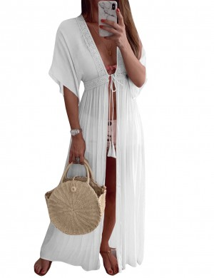Beach Stunner White Mesh Lace Patchwork Waist Tie Dress Women