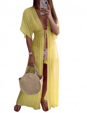 Elegant Yellow Plain Cardigan Waist Slim Dress Outdoor