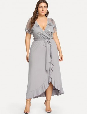 Grey Short Sleeves Irregular Dress Ruffle Queen Size High Elasticity