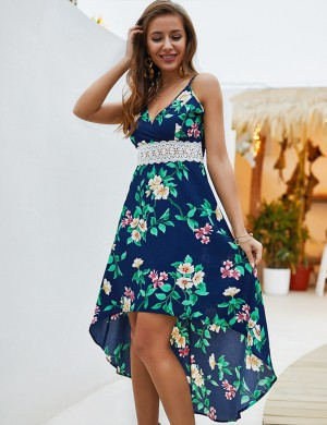 Newest Sapphire Blue Cut Out Printed Dress Spaghetti Straps Fashion