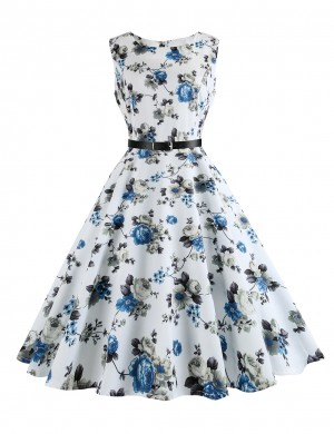 Demure White Crew Neck Slim Waist Skater Dress Print Hepburn High Elasticity