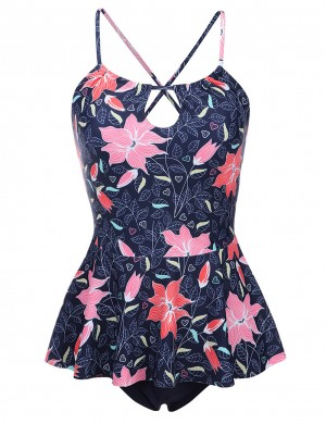 Conservative Padded Floral Keyhole Tankini Flounce Superior Quality