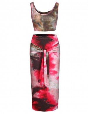 Bewitching Red Print Round Neck Skirt Set Sleeveless Women