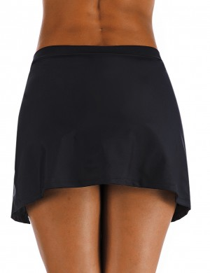 Ultra Hot Black Large Size Drawstring Beach Skirt Side Slit For Ladies