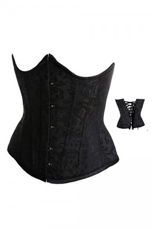 Black Brocade Curved Top Waist Cincer Underbust Corset