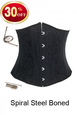 12 Steel Boned Elegant Black Steel Boned Corset