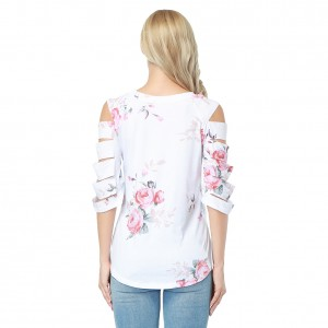 Lovely Round Neckline Cut Out Sleeve Blouse Flower Pattern