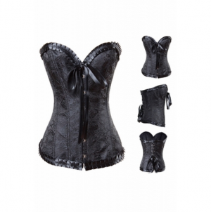 Bowknot Front Pleated Flocking Embroidery Overbust Corset