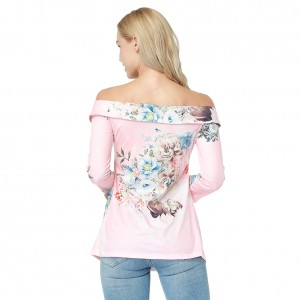 Pink Pleasant Slash Neckline Crossover Detail Blouse