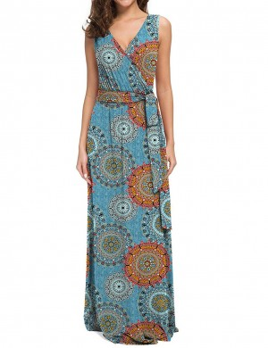 Glorious Waist Tie Print Big Size Maxi Dress Leisure Fashion