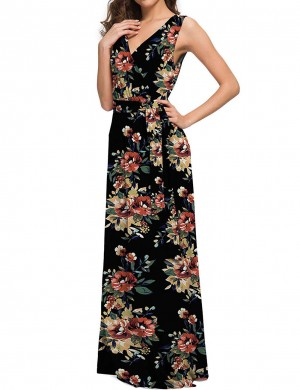 Comfort Floral Wrap Knot Large Size Women Maxi Dress Fashion