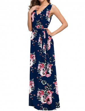 Dreamy Flower V Neck Tie Big Size Maxi Dress Cheap Fashion