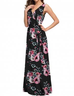 Catching High Waist Floral Big Size Maxi Dress For Work