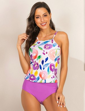 Absorbing Floral Print Backless Criss Cross Tankini Romance Time