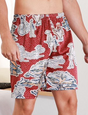 Comely Wine Red Wide Print Contrast Color Short Pants Male Elasticity