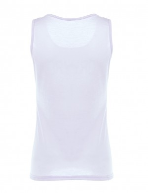 Relaxed White Print Non-Sleeve U Neck Tank Top Big Size Women's Essentials