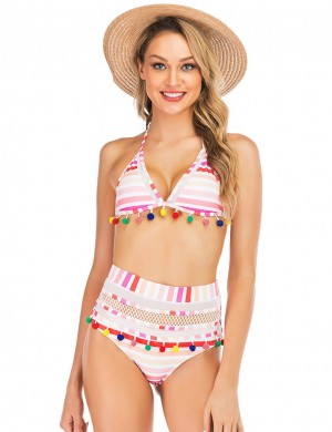 Flattering Tie Back Mesh Hollow Out Bikini Pom Pom Going Out Outfits