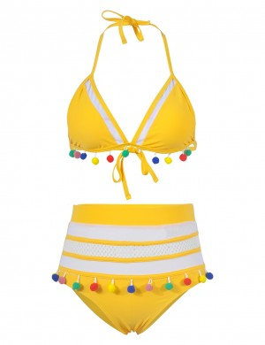 Young Girl Yellow Pom Pom Mesh Patchwork Bikini High Rise Outdoor