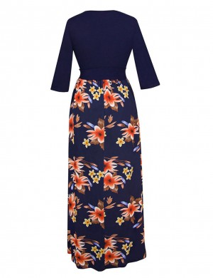 Nicely Waist Tie Flower Print Crew Neck Maxi Dress Relax Fit