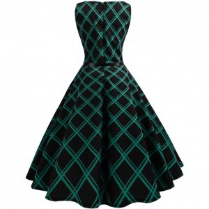 Amazing Plaid Print Hepburn Flare Hem Skater Dress Sale Online