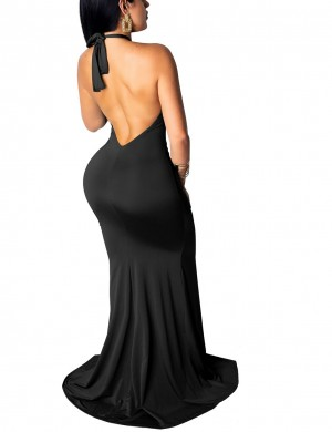 Distinctive Black Open Back Cut Out Slit Front Evening Dress Women