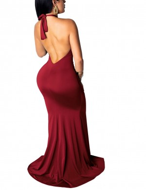 Halter Irregular Hem Wine Red Evening Dress Ruched Tailored Quality