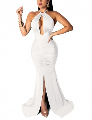 Unique Cut Out White Tie Backless Ruched Evening Dress Casual Women