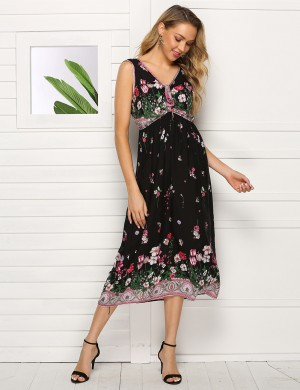 Exquisite High Waist Wide Strap Big Size Midi Dress Distinctive Look