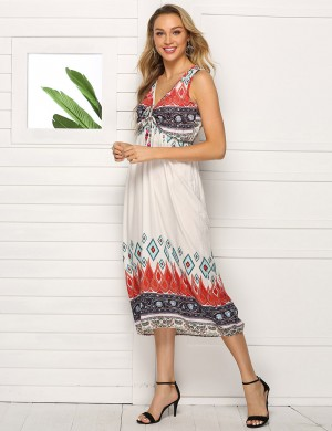 Silhouette Sleeveless Big Size Print Midi Dress Drawstring Ladies Fashion
