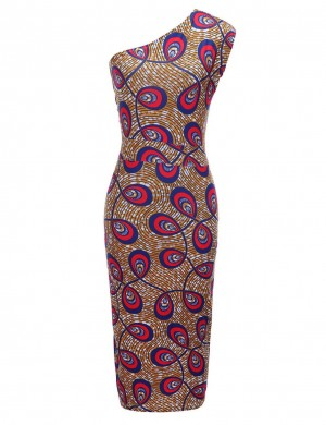 Formal Slant Shoulder Brushed Print Bodycon Dress Preventing Sweat