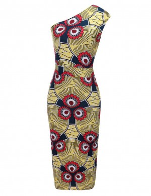 Elaborate Print Oblique Shoulder Brushed Bodycon Dress Elasticity