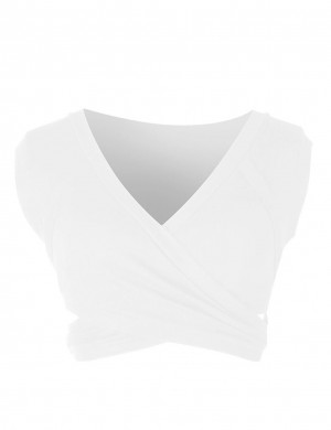 Snug Fit White Plain Sleeveless V Collar Cropped Top Rib Chic Trend