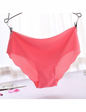 Effortless Watermelon red Scallop High Rise Pure Color Panty For Female