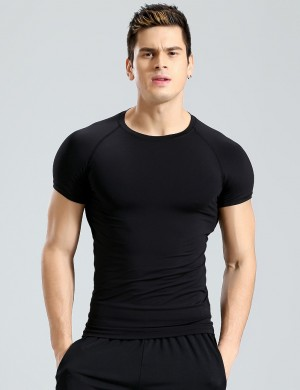 Flattering Black Solid Color Round Collar Top Sport Male Big Size