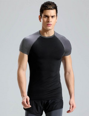 Svelte Style Short Sleeve Color Block Male Sport Top Big Size