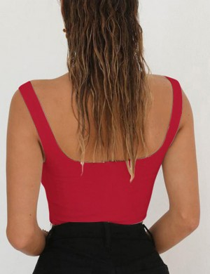 Delightful Red Sleeveless V Neck Open Back Cropped Top Zip Ultra Hot