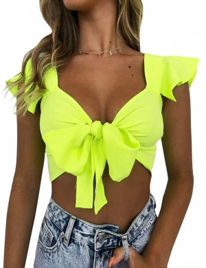 Alluring Yellow V Collar Flounce Sleeve Cropped Top Tie For Women
