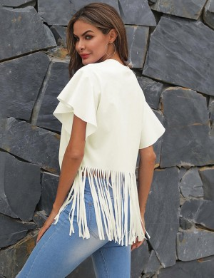 Bewitching Crew Neck Beige Flounce Sleeve Cropped Top Tassel Chic Online
