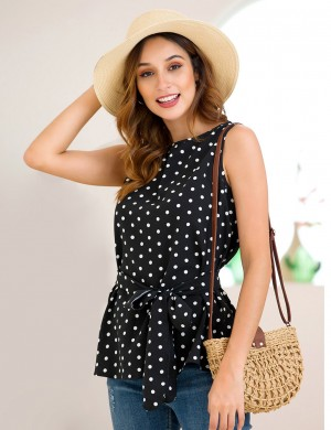 Comfy Waist Belt Black Wide Strap Polka Dot Tank Top Lady Fashion
