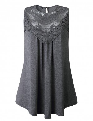 Grey Shank Button Hollow Lace Patchwork Tank Top Glamor Women