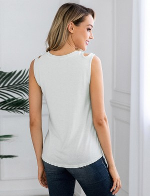 Shimmer Tie Cut Out White Round Neck Pocket Tank Top Lady Clothing
