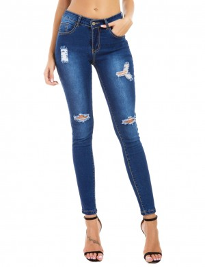 Dark Blue Elastic Queen Size Ripped Jeans Pencil Beautiful Addition