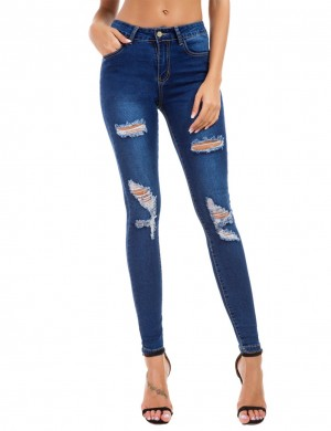 Dark Blue Shred Elastic Pocket Ripped Jeans Button Big Size Hot Sale