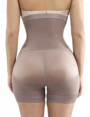 Skin-Friendly Brown Large Size High Waist Butt Enhancer Hooks Slimmer