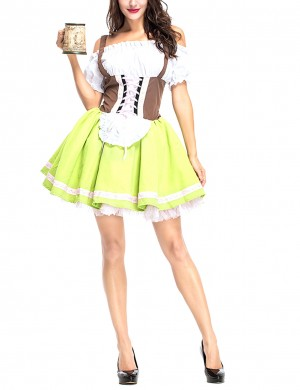 Green German Big Size Bavaria Cold Shoulder Oktoberfest Costumes Womens Fashion