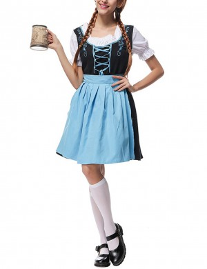 Fascinating Blue Bavaria Big Size Cosplay 3 Piece Oktoberfest Costumes Trend